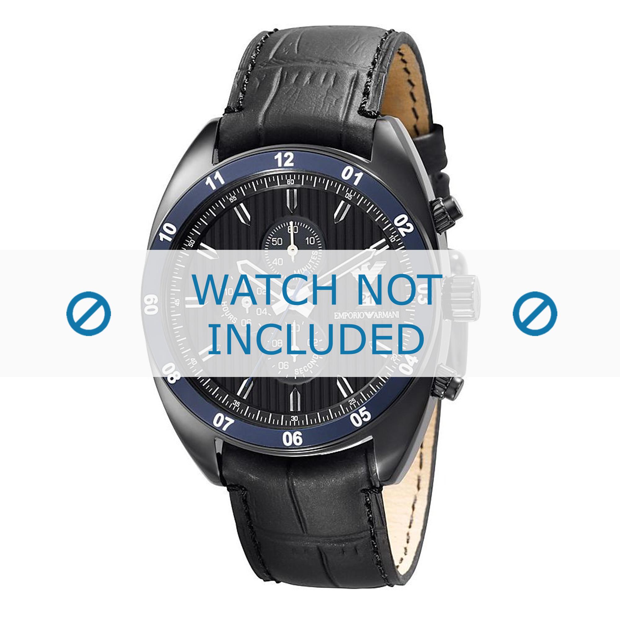 Armani horlogeband AR5916 Leder Zwart 22mm + zwart stiksel