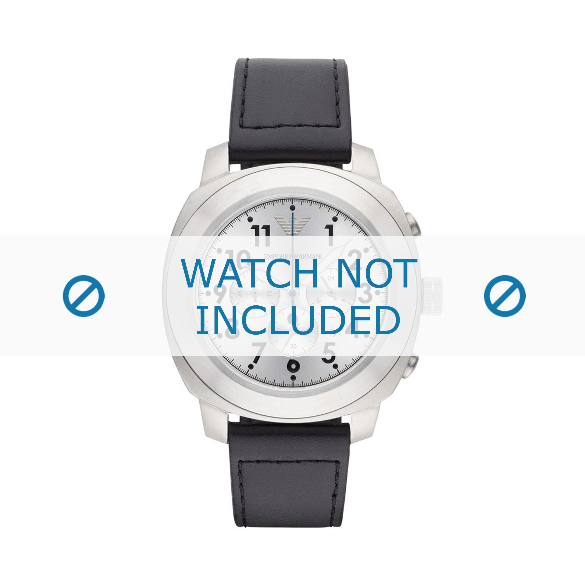 Armani horlogeband AR6054 Leder Zwart 22mm + zwart stiksel