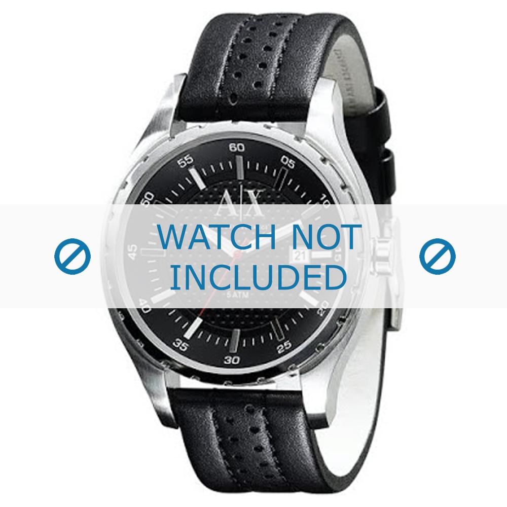 Armani horlogeband AX-1055 Leder Zwart 22mm