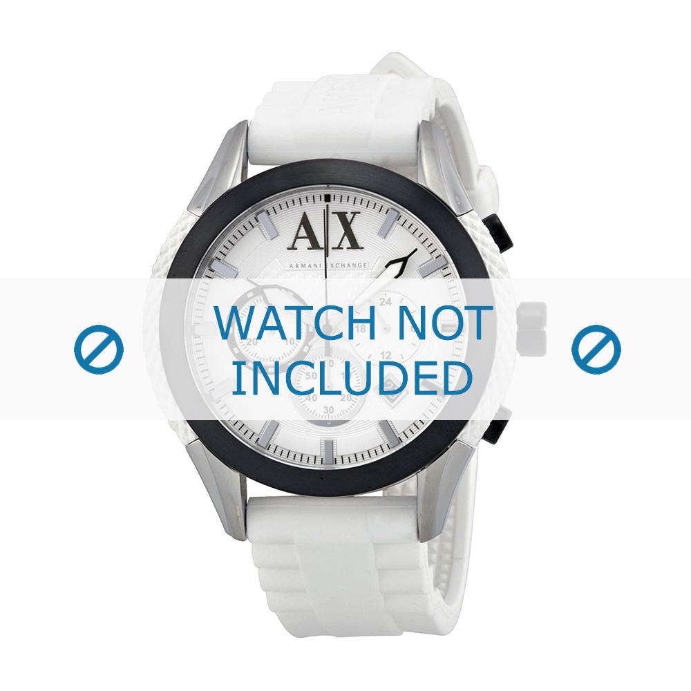 Armani horlogeband AX-1225 Silicoon Wit 22mm