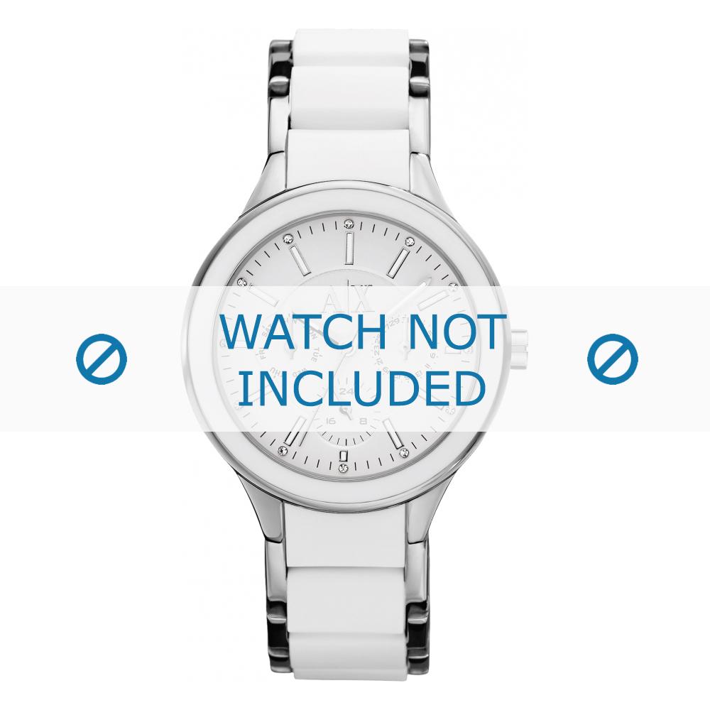 Armani horlogeband AX-5125 Staal Wit 10mm