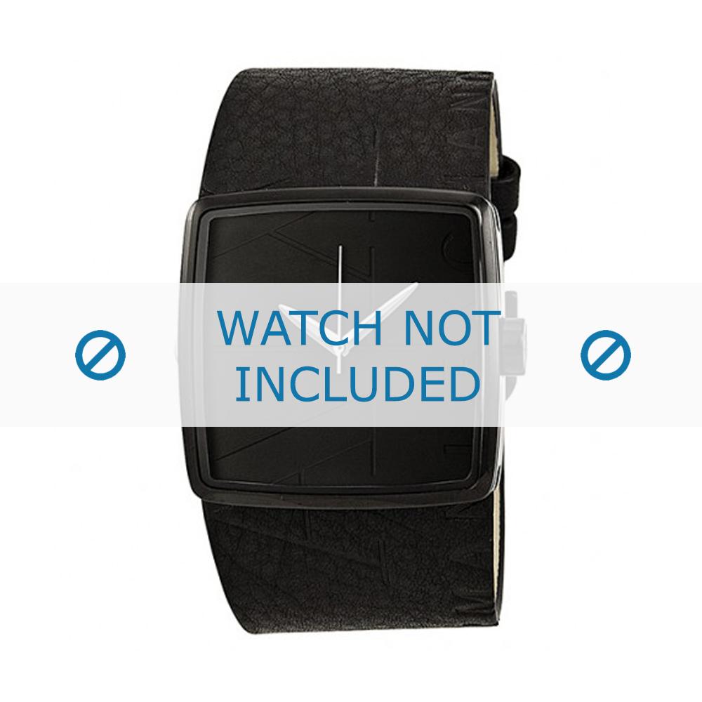 Armani horlogeband AX-6002 Leder Zwart 35mm