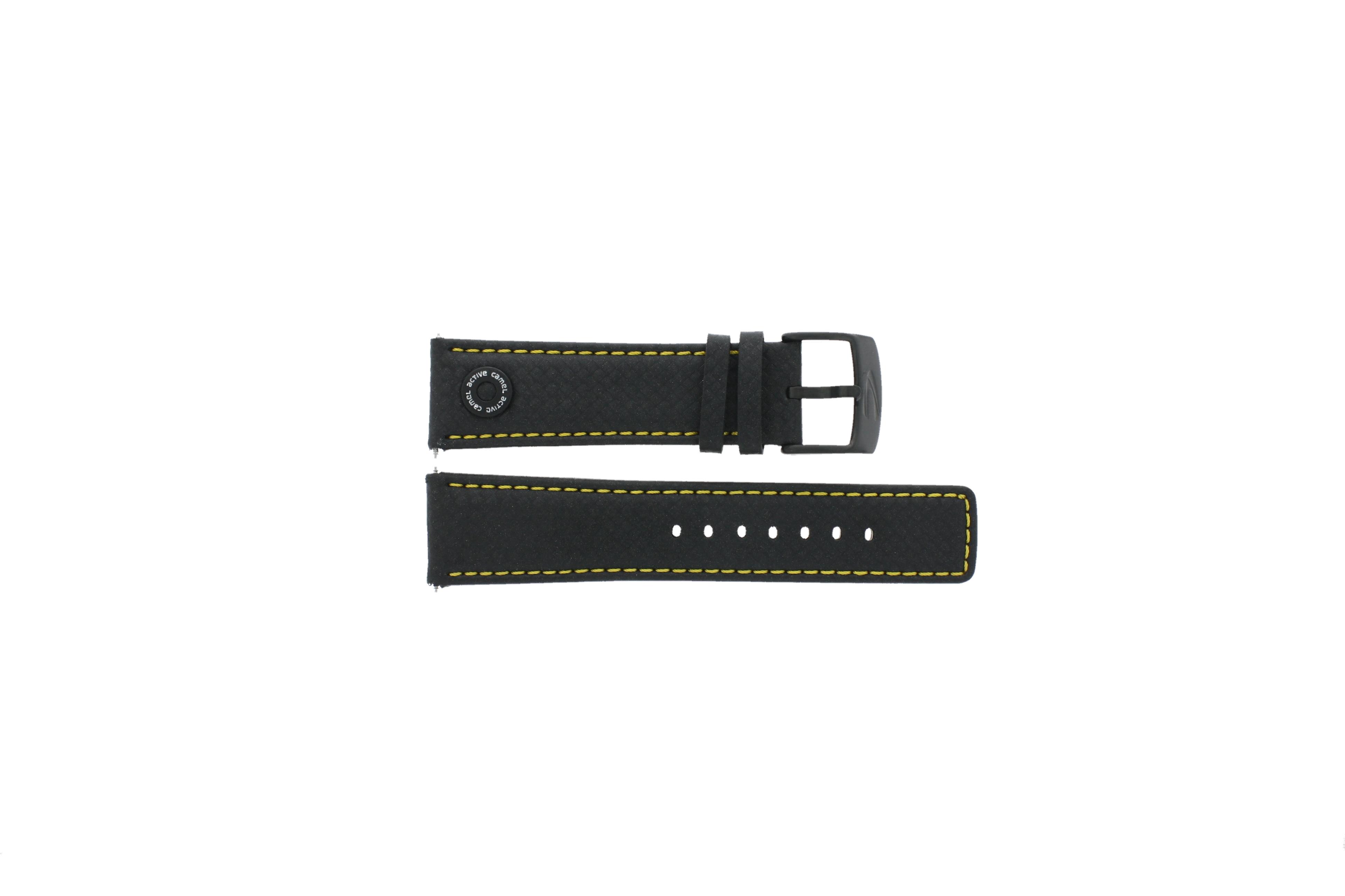 Camel horlogeband 1160-1169 Leder Zwart 24mm + geel stiksel