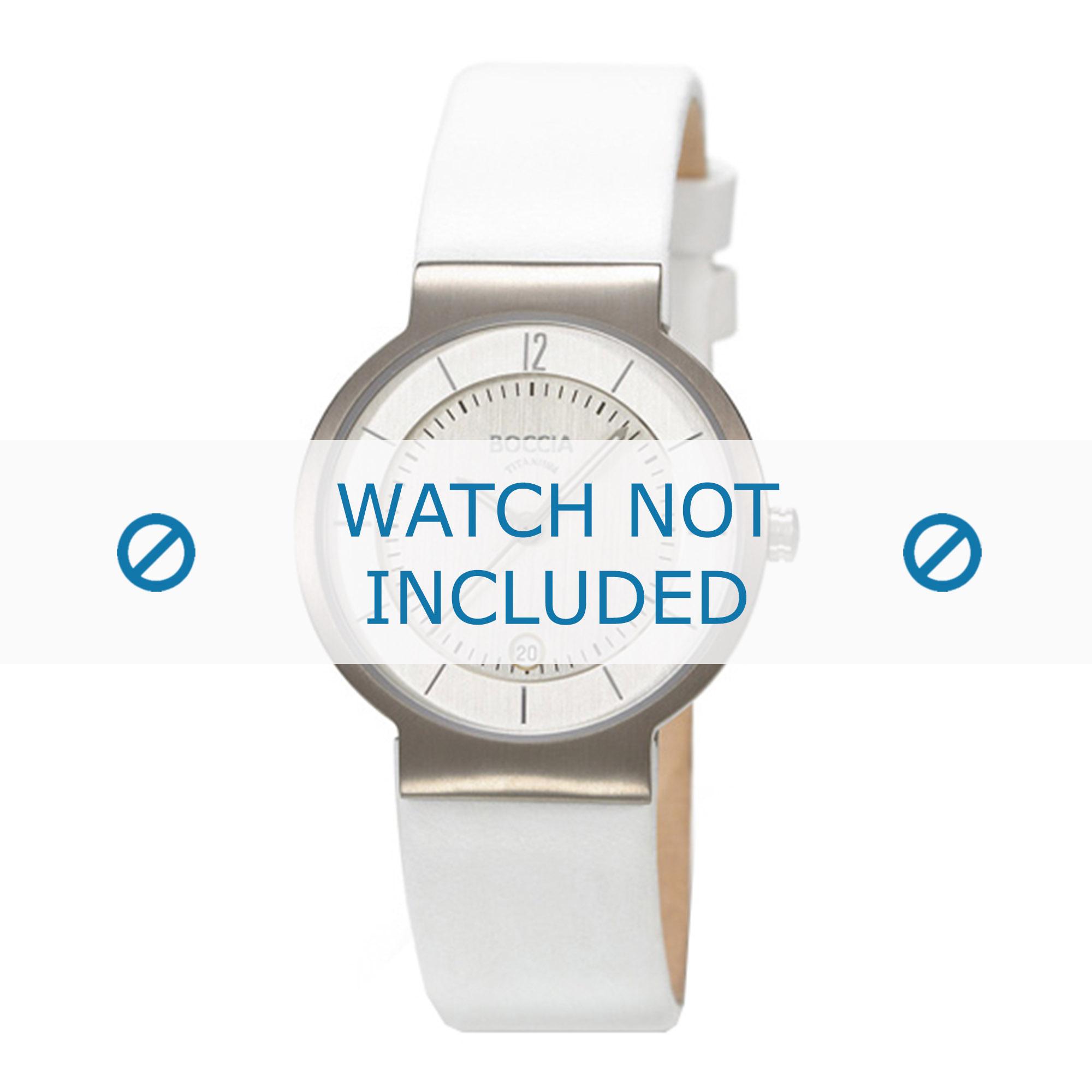 Boccia horlogeband 3123-04 (BO3123-04-40) Leder Wit