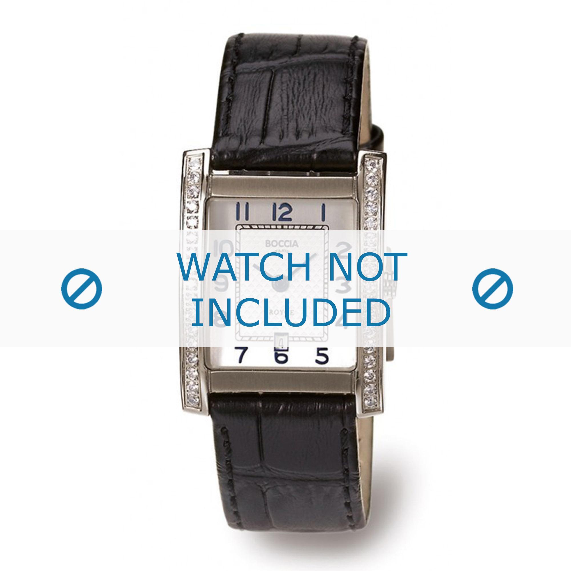 Boccia horlogeband 3141-03 (BO3141-03-40ZW) Leder Zwart + standaard stiksel