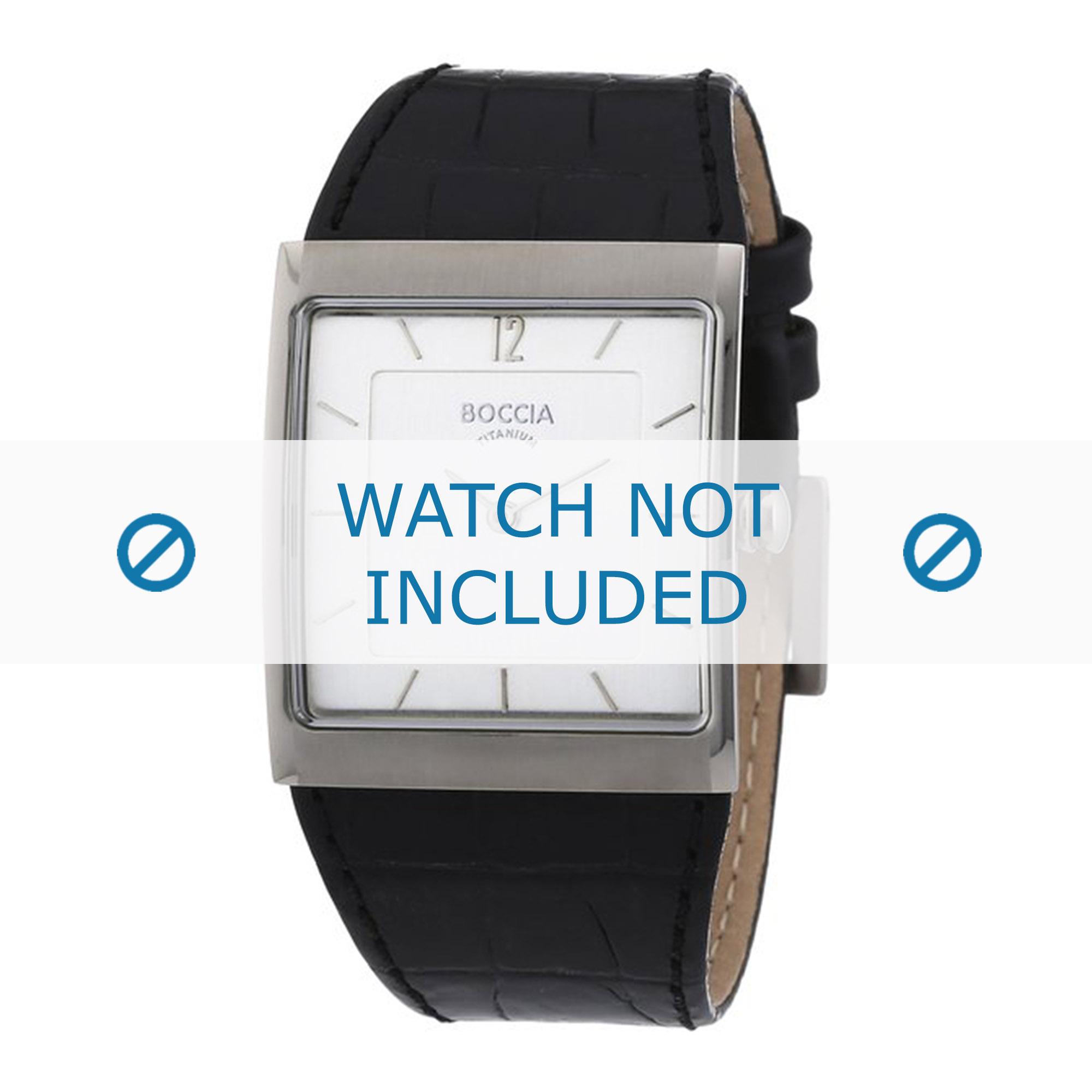 Boccia horlogeband 3143-01 (BO3143-01-40ZW) Leder Zwart + standaard stiksel