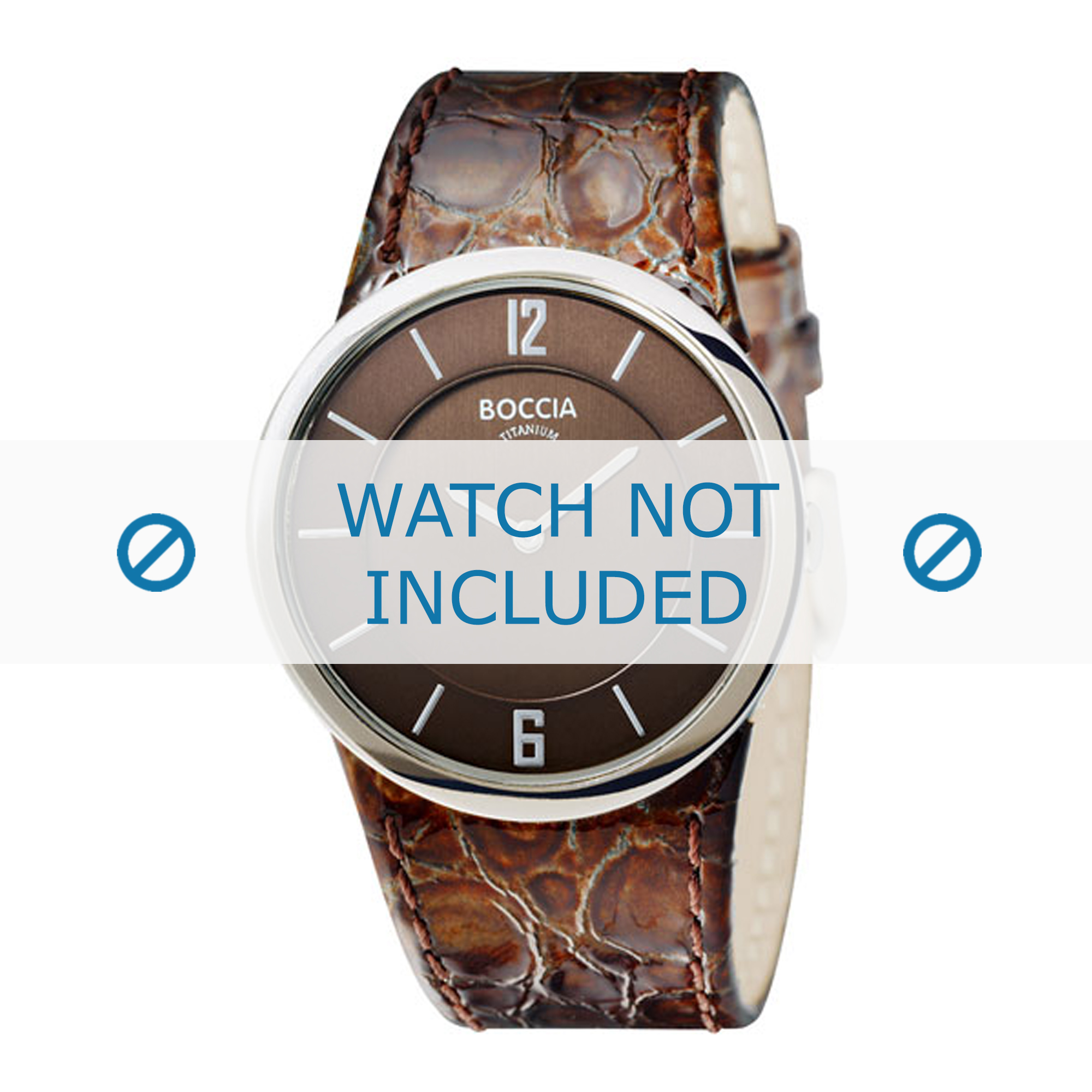 Boccia horlogeband 3165-05 Leder Bruin + bruin stiksel