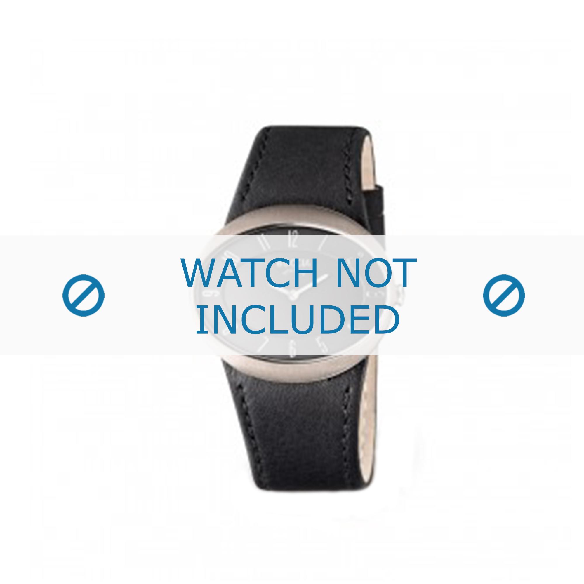 Boccia horlogeband 3165-06 Leder Zwart + zwart stiksel