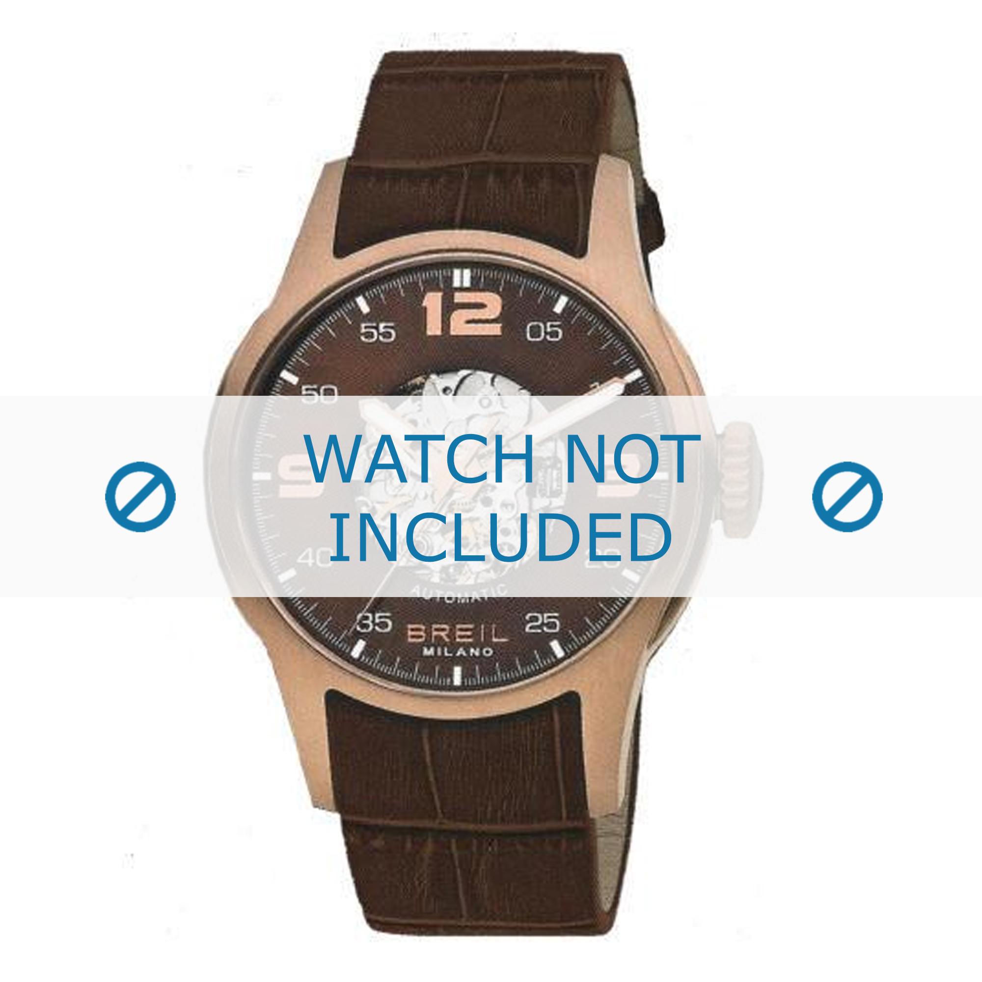 Breil horlogeband BW0271 Croco leder Bruin + geel stiksel