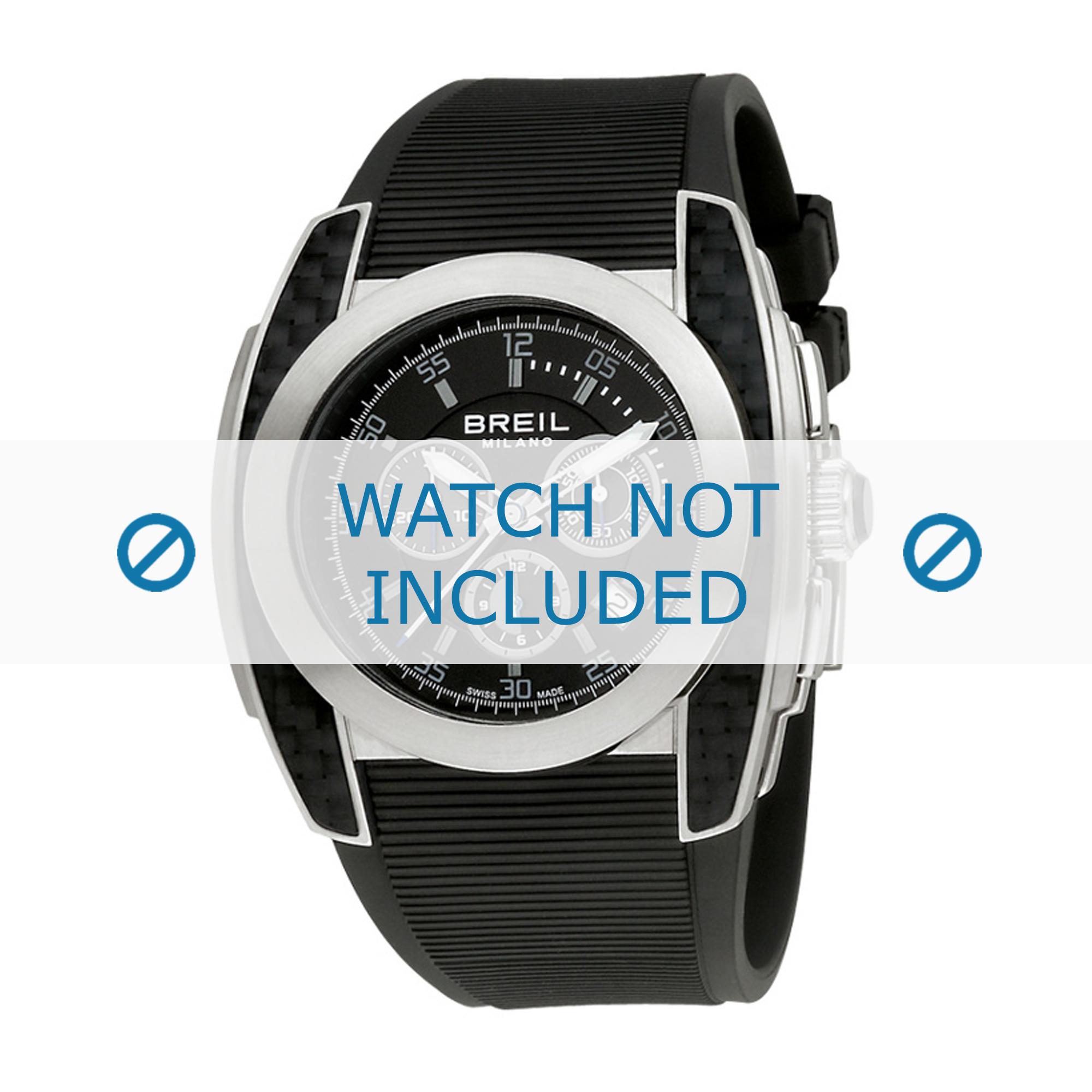 Breil horlogeband BW0381 Rubber Zwart 24mm