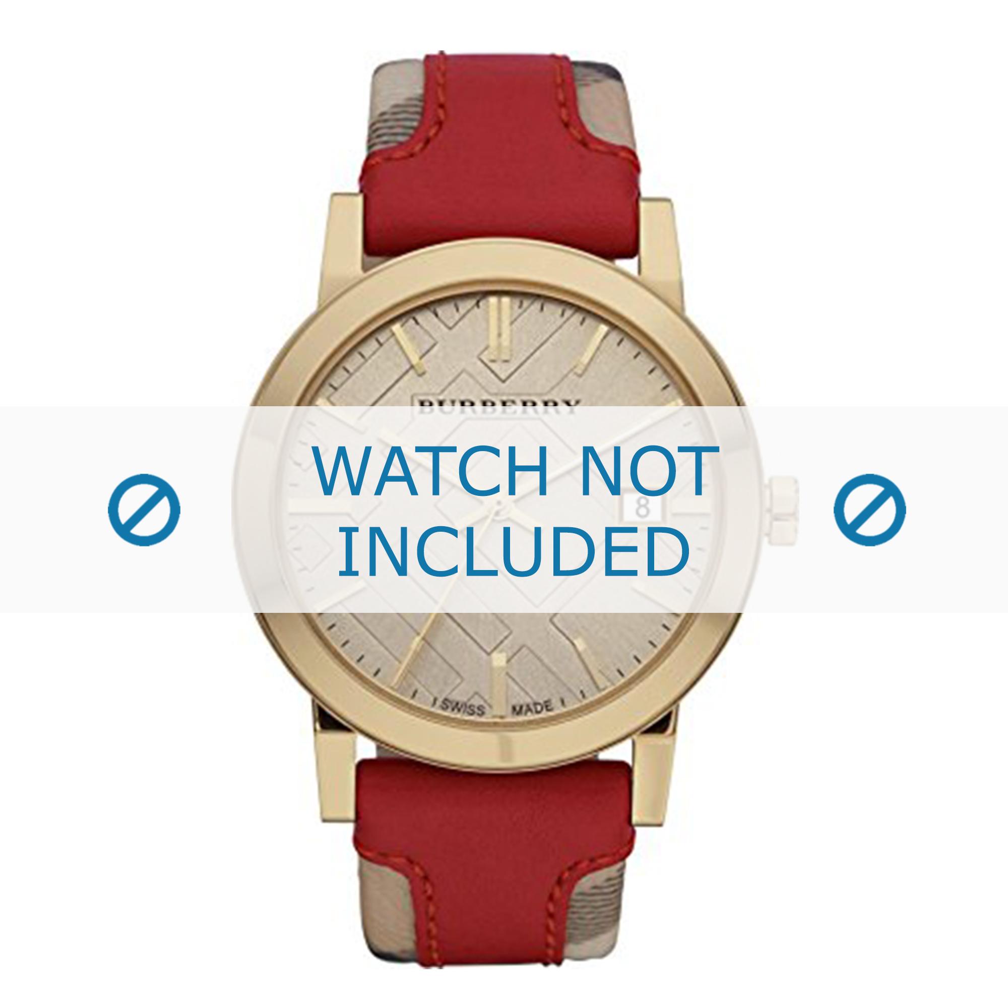 Burberry horlogeband BU9017 Leder Rood 22mm + rood stiksel
