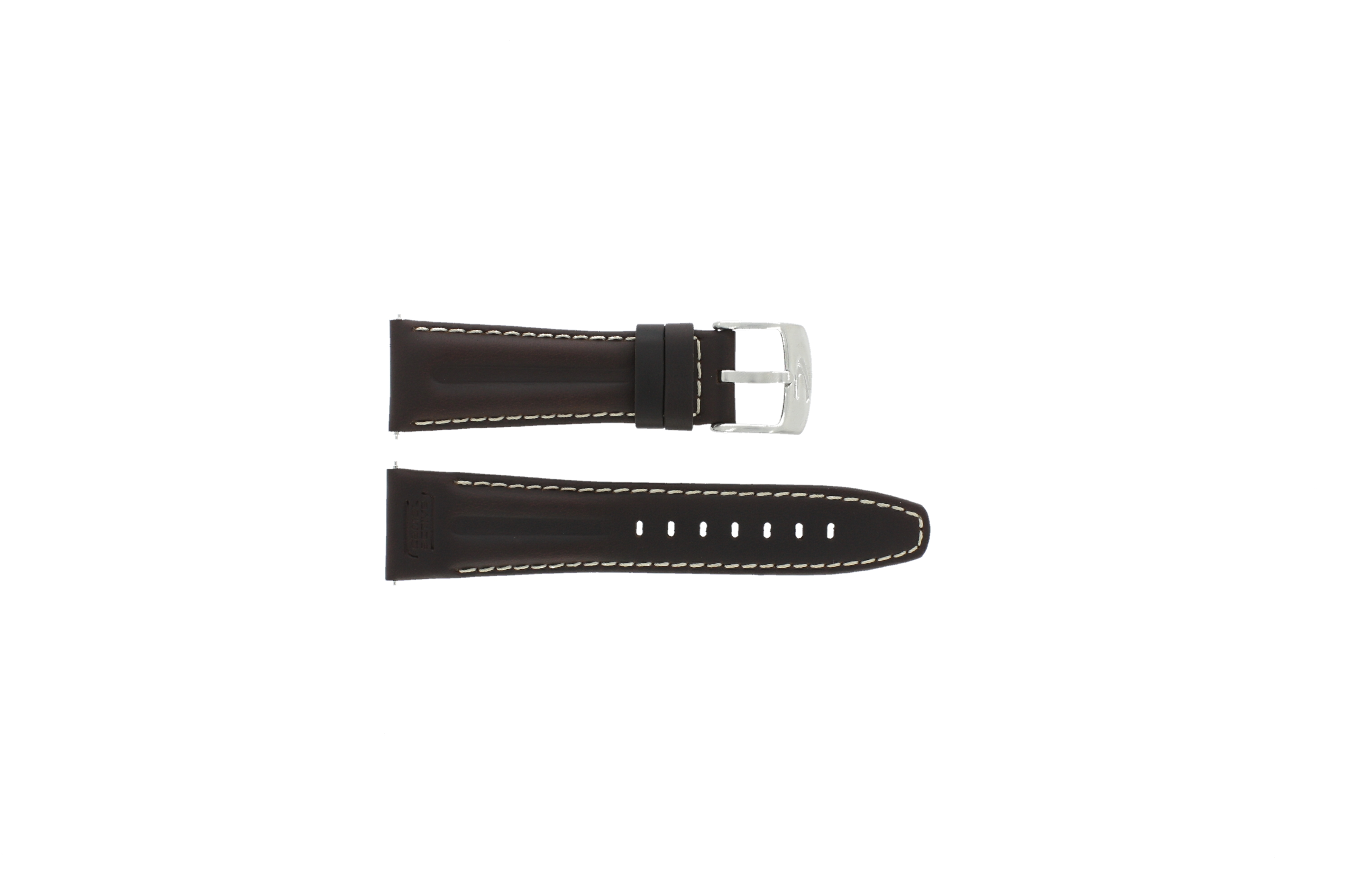 Camel horlogeband 6420-6429 Leder Donkerbruin 24mm + wit stiksel