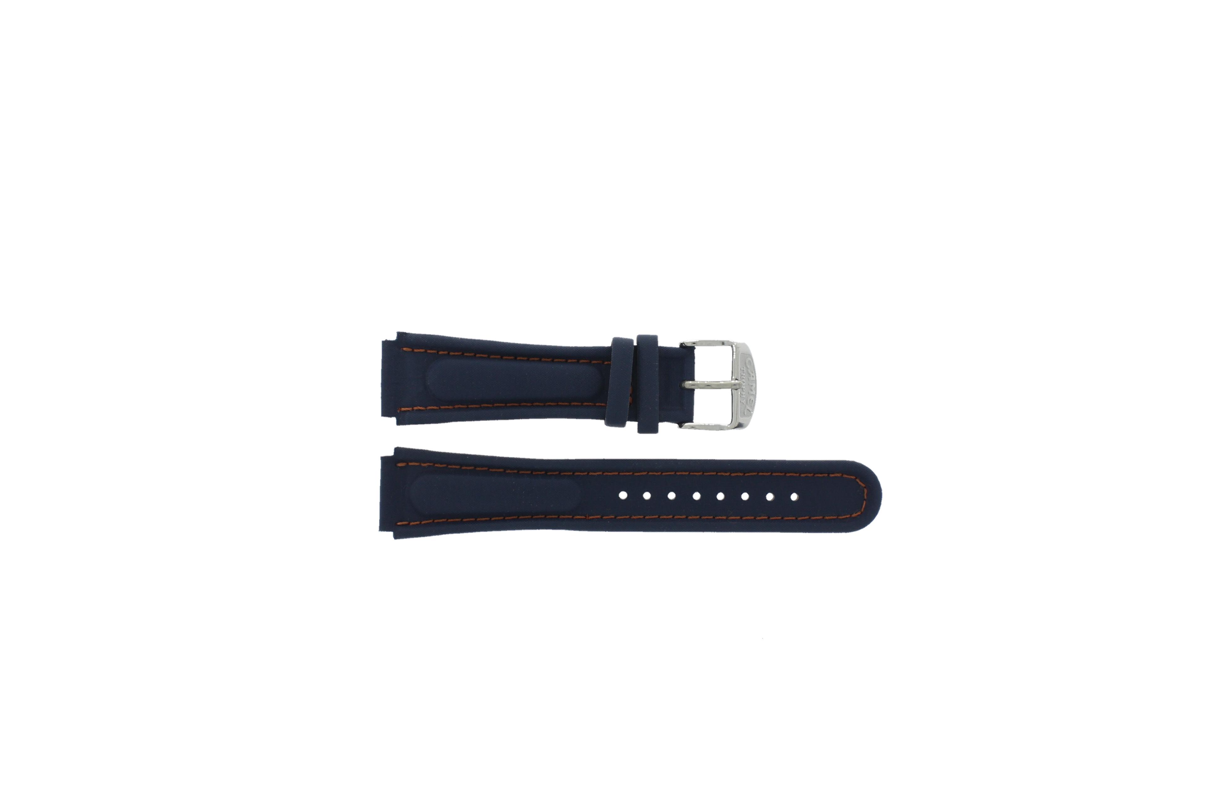 Camel horlogeband Trophy Leder Blauw 18mm + oranje stiksel