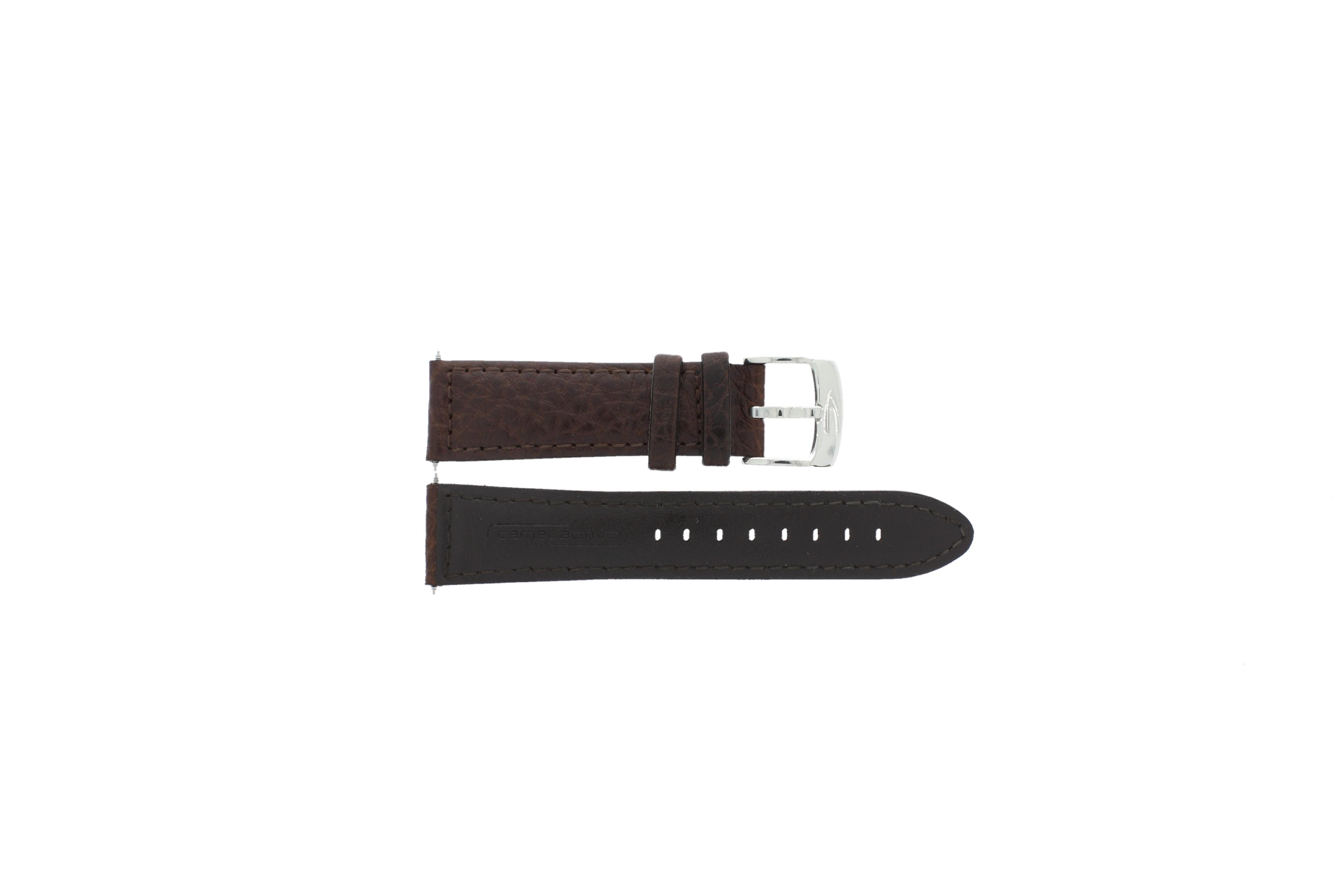 Camel horlogeband Active Leder Donkerbruin 26mm + wit stiksel