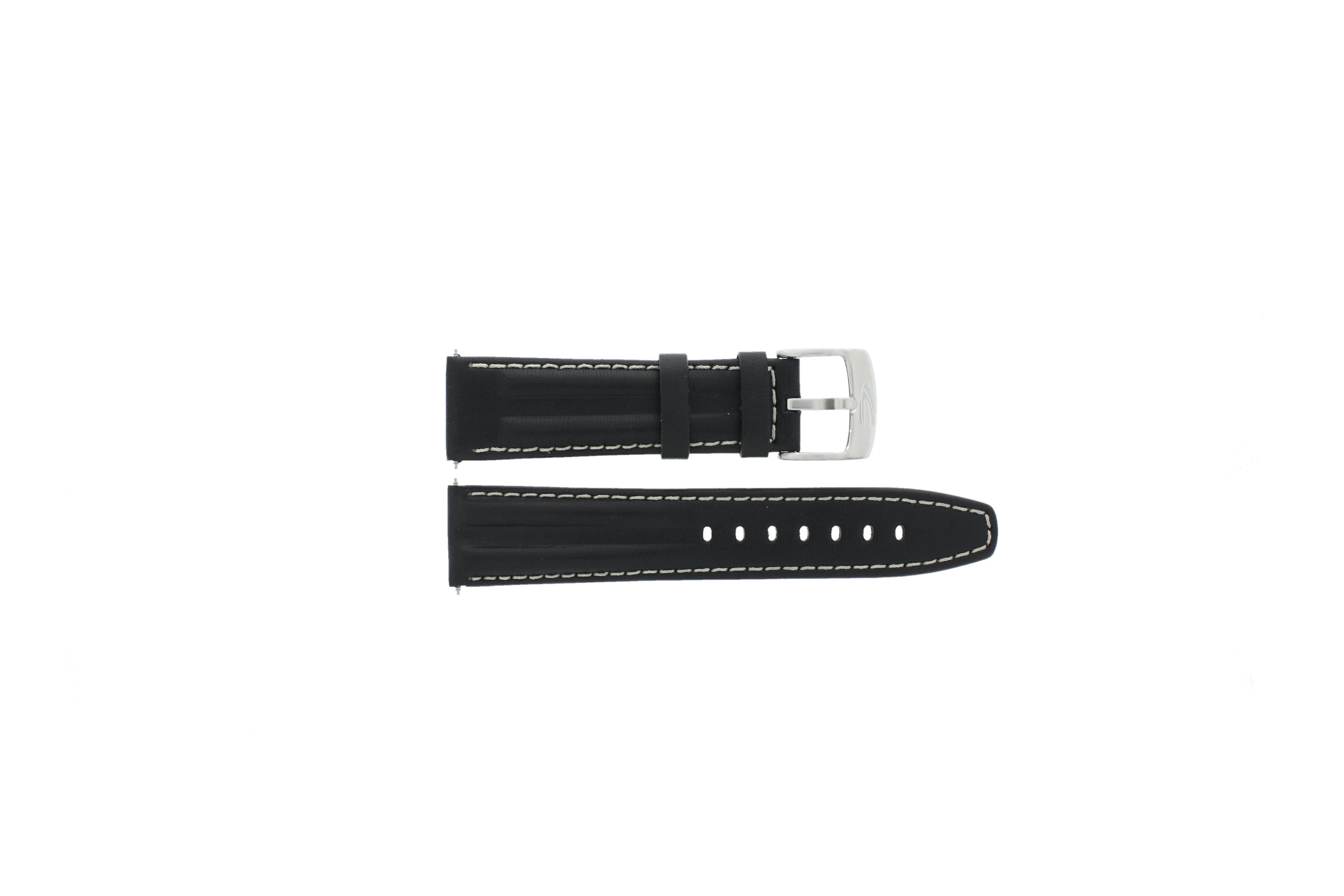 Camel horlogeband 6522-6529 / 6580-6589 Leder Zwart 22mm + wit stiksel
