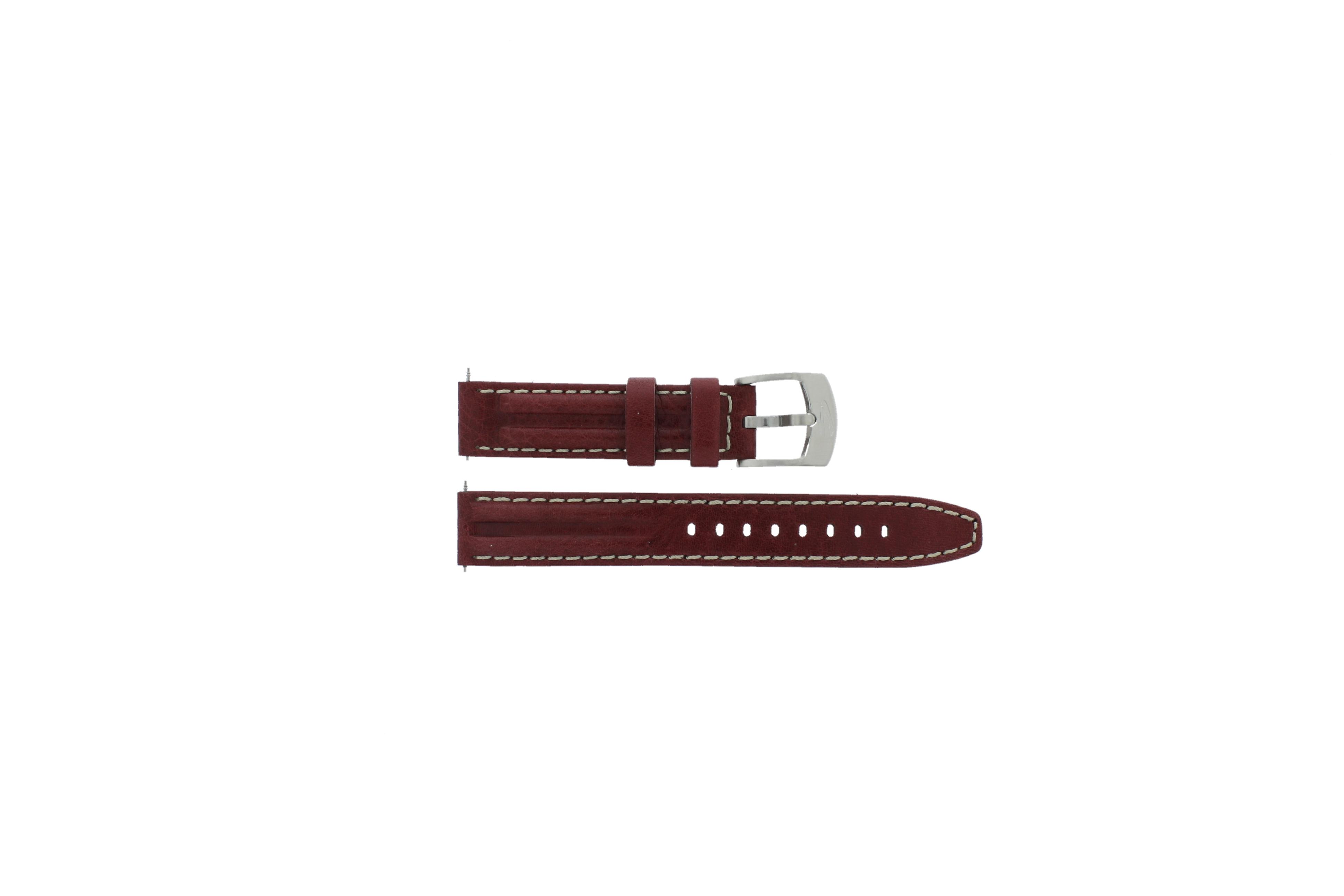 Camel horlogeband 6500-6510 Leder Bordeaux rood 16mm + wit stiksel