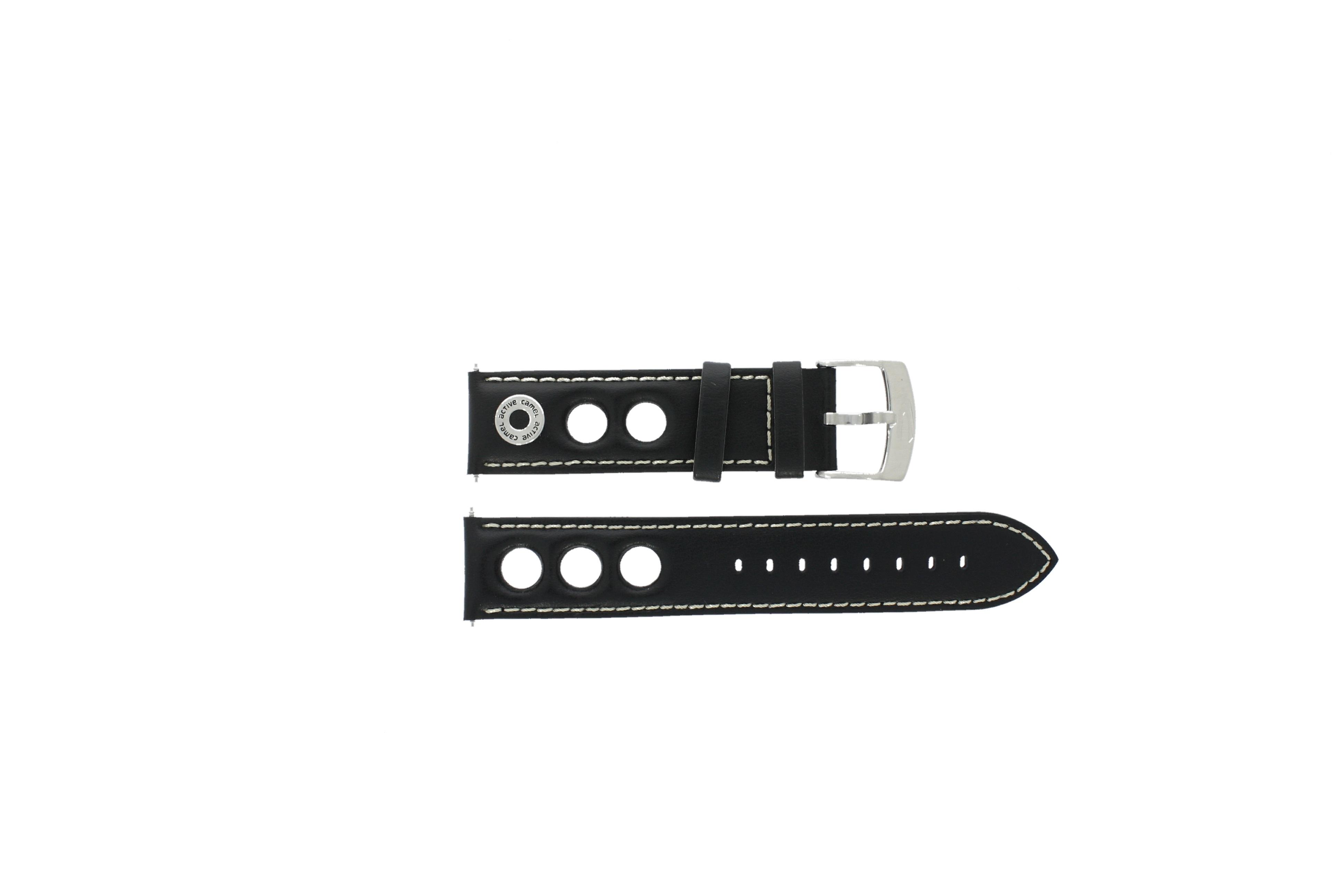 Camel horlogeband 3120-3129 / 3520-3529 Leder Zwart 22mm + wit stiksel