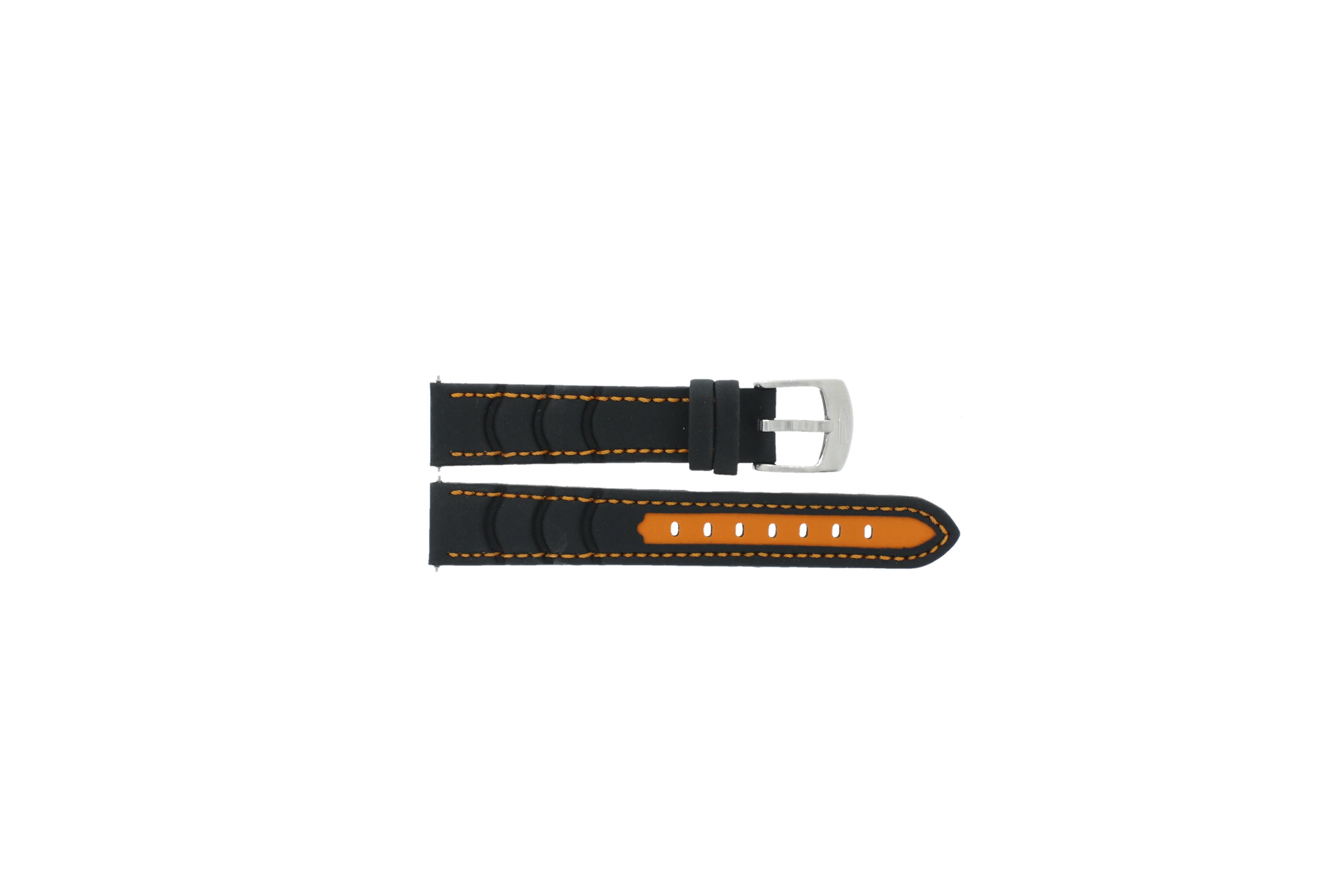 Camel horlogeband Active Rubber Zwart 18mm + oranje stiksel
