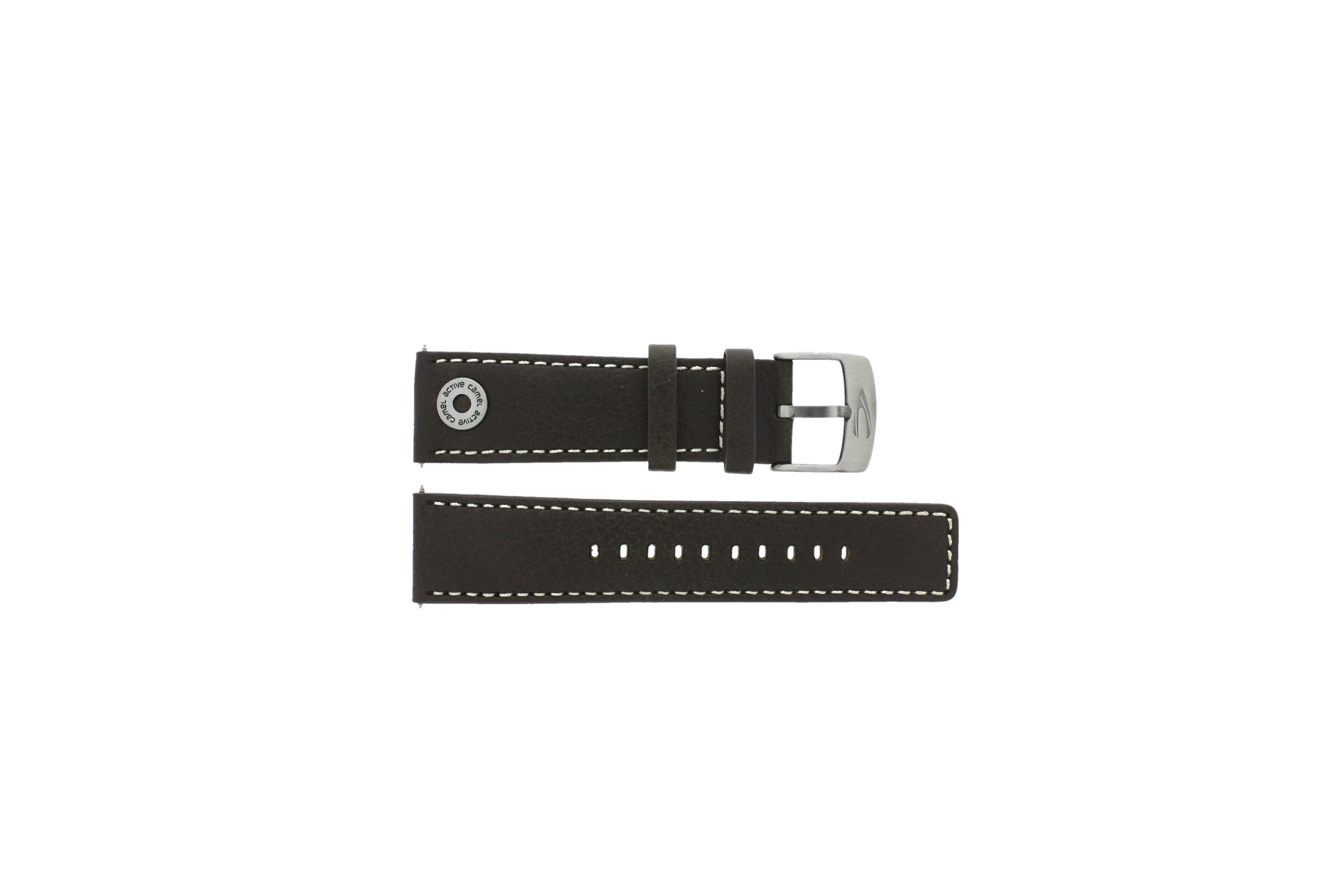 Camel horlogeband Active Leder Bruin 24mm + wit stiksel