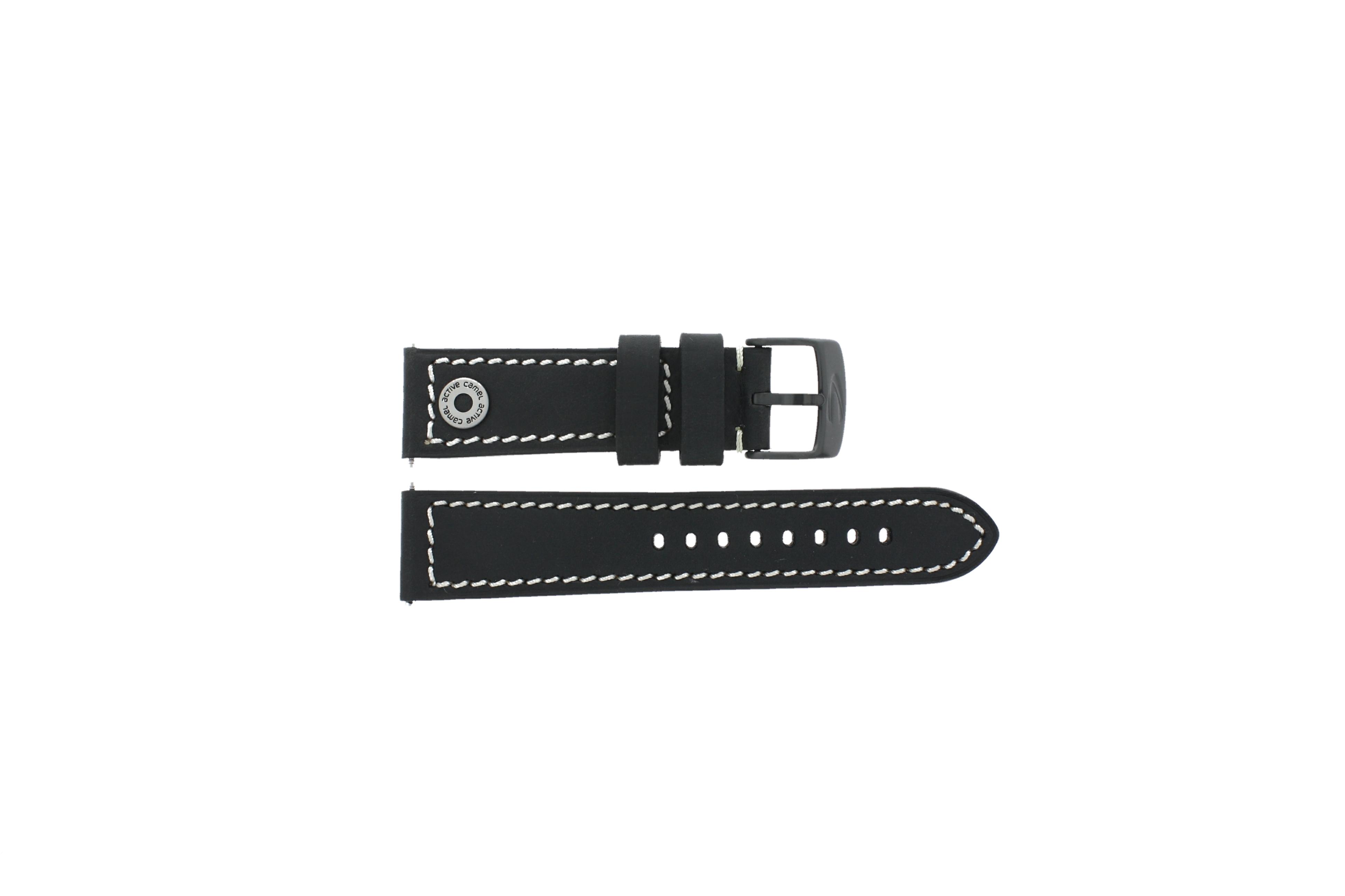Camel horlogeband Active Leder Zwart 24mm + wit stiksel