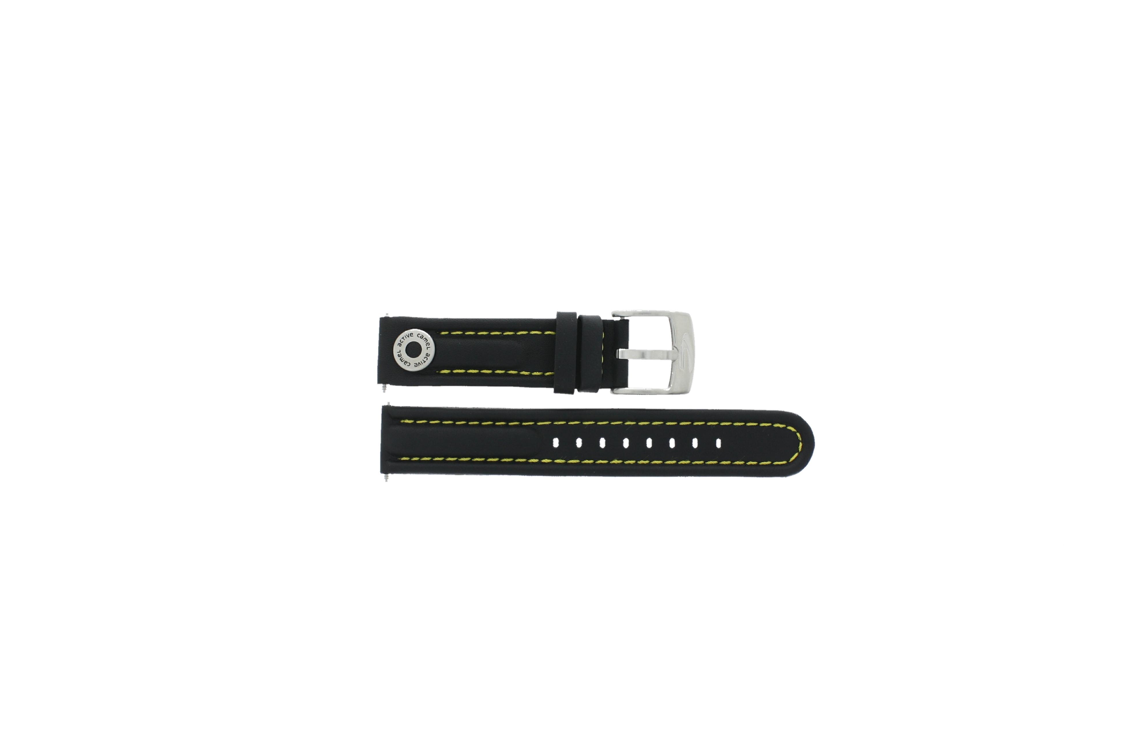 Camel horlogeband Active Leder Zwart 18mm + geel stiksel