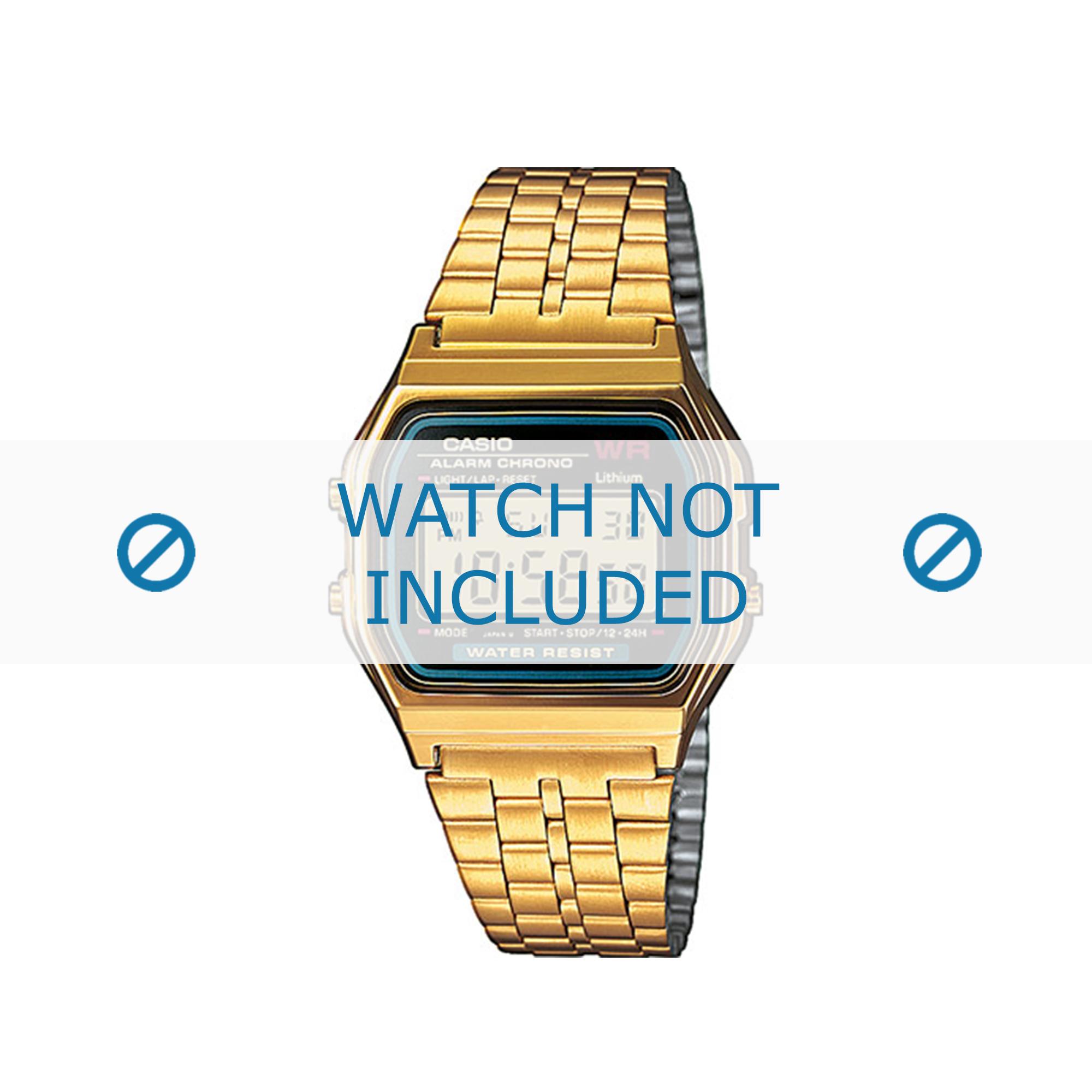 Casio horlogeband A159WGEA-1EF / A159WGEA-1 Staal Goud (Doublé) 18mm