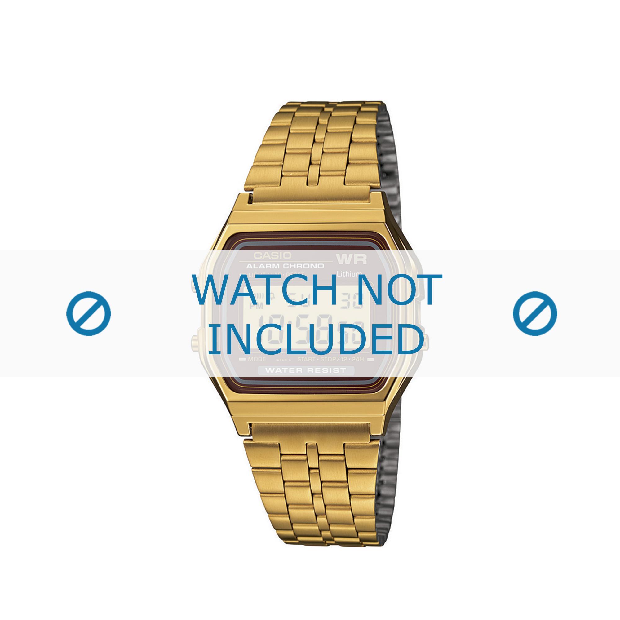 Casio horlogeband A159WGEA-5EF / A159WGEA-5 Staal Goud (Doublé) 18mm