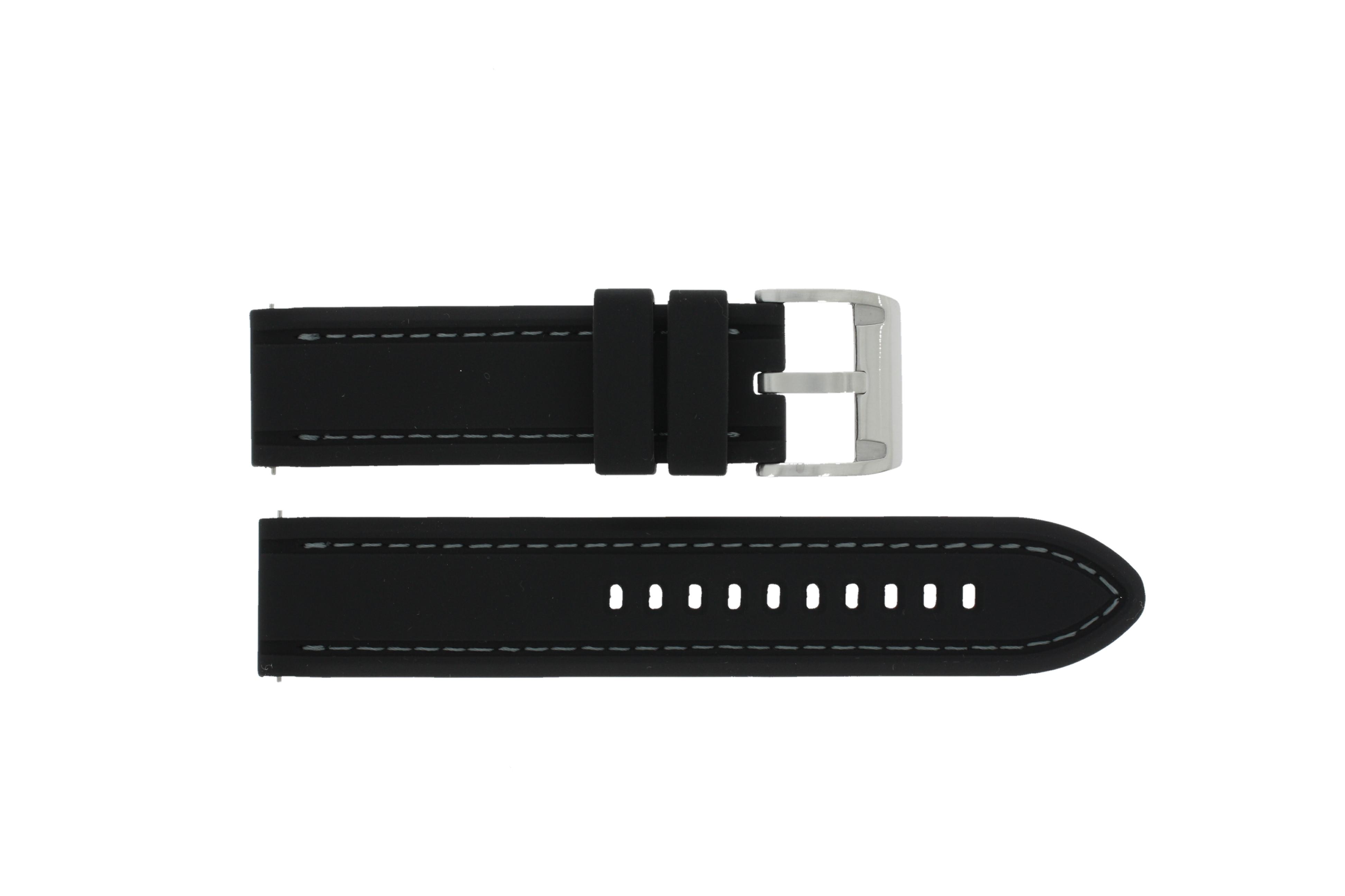 Fossil horlogeband CH-2573 Rubber Zwart 22mm + wit stiksel