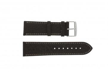 Horlogeband 307.02 XL Leder Bruin 22mm + wit stiksel