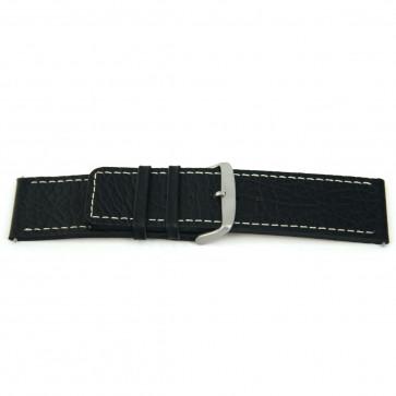 Echt lederen horloge band zwart met wit stiksel 26mm EX-H79