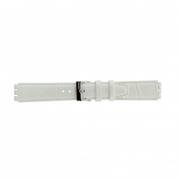 Band passend aan Swatch wit leder 17mm 21414