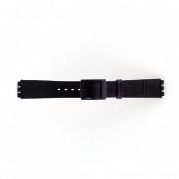 Band passend aan Swatch croco zwart 16mm PVK-SC16.01