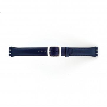 Band passend aan Swatch marine blauw 19mm