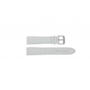 Police horlogeband 12898JS-02A Leder Wit 22mm + wit stiksel
