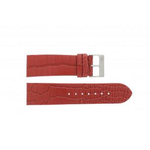 Davis horlogeband 1423 Leder Rood 24mm + geel stiksel