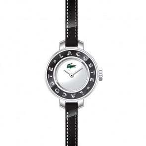 Lacoste horlogeband LC-15-3-14-0084 / 2000391 Leder Zwart 6mm + zwart stiksel