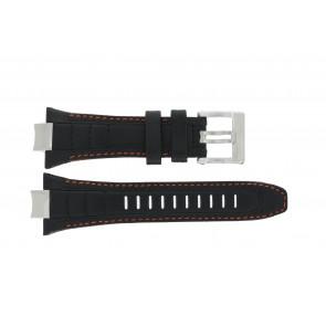 Seiko horlogeband 4A1R1JT / 6G28-00N0 / 7T86-0AB0 / 7T62-0JV0 / SRK023P2 / SPC047P2 / SNAD23P2  / 6G28-00P0 / SRK025P1 Leder Zwart 14mm + oranje stiksel