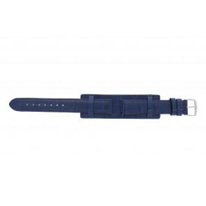 Horlogeband 61325.55.16 Leder Blauw 16mm + blauw stiksel