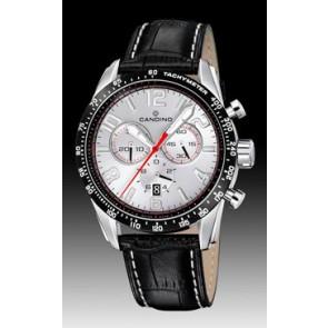 Candino horlogeband C4429-1 Leder Zwart + wit stiksel