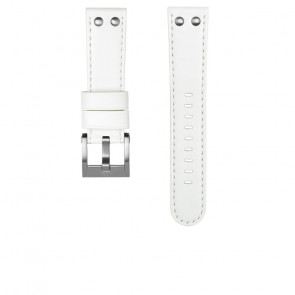 TW Steel horlogeband CEB108 Leder Wit 22mm + wit stiksel