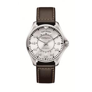 Horlogeband Hamilton H64615555 Leder Donkerbruin 20mm