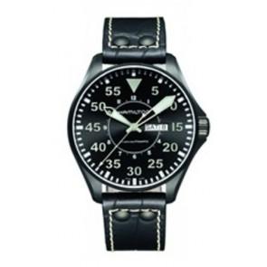 Horlogeband Hamilton H64785835 Leder Zwart 22mm