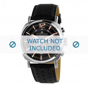 Jacques Lemans horlogeband 1-1645J Leder Zwart + standaard stiksel