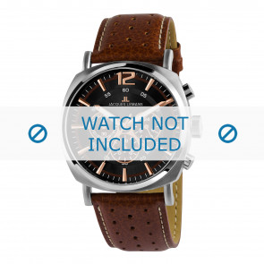 Jacques Lemans horlogeband 1-1645K Leder Bruin + wit stiksel
