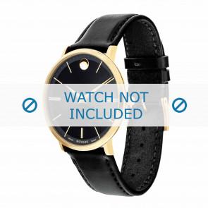 Movado horlogeband 0607087 Leder Zwart 20mm + standaard stiksel