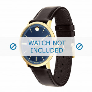 Movado horlogeband 0607088 Leder Donkerbruin 20mm + standaard stiksel