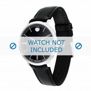 Movado horlogeband 0607090 Leder Zwart 16mm + standaard stiksel