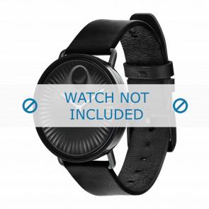 Movado horlogeband 3680039 Leder Zwart 20mm