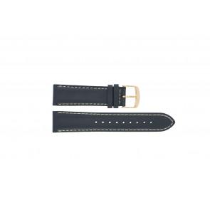 Timex horlogeband PW2P72700 Leder Blauw 22mm + wit stiksel