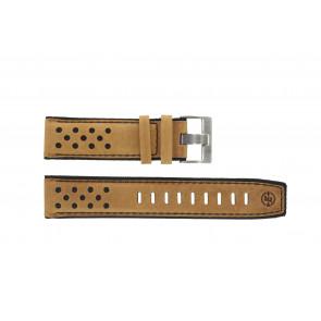 Timex horlogeband PW4B01500 Leder Cognac 22mm + zwart stiksel